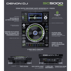 Denon DJ - Platine SC5000PRIME USB, SD, Ecran tactile 7 pouces, 2 layer