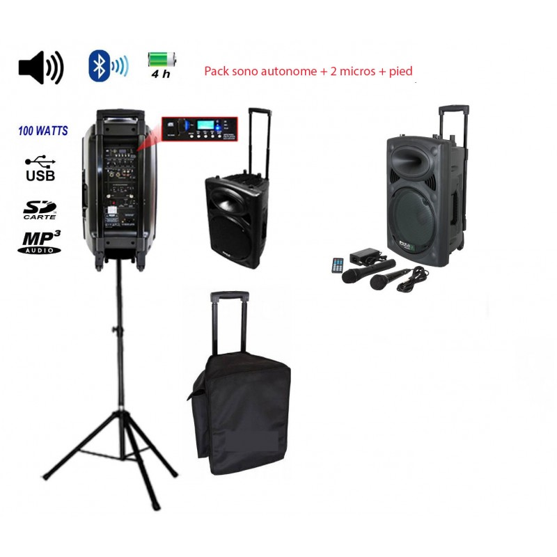 Pack Ibiza Port10vhf-bt + pied + housse - sono autonome 10 pouces